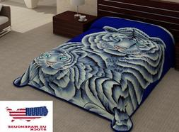 2 Ply White Tigers Animal Blanket Reversible King Size Soft