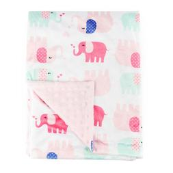 Baby Blanket for Girl Soft Minky with Double Layer Dotted Ba