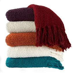Boucle Throw Blanket in Fall colors