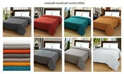 Cotton Bed Blanket -100% Soft Luxurious Thermal Twin/Queen/K