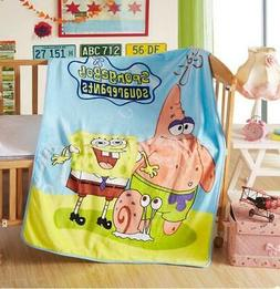 Cute Spongebob Supersoft Kids Middle Plush Cape Blanket Thro