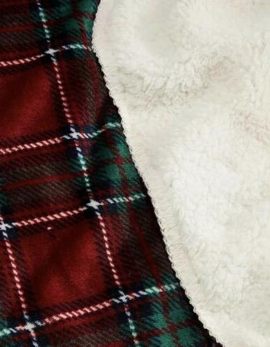 Berkshire Blanket Co Red And Green Nottingham Plaid Revesible