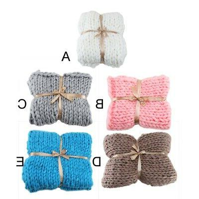 Large Warm Hand-Knitted Blanket Wool Thick Line Yarn Winter