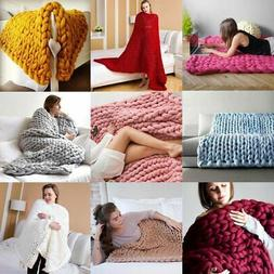 Large Soft Chunky Knitted Thick Blanket Hand Yarn Wool Throw