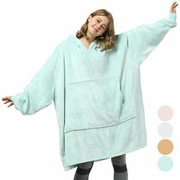 Oversized Wearable Blanket Hoodie Sweatshirt Comfy Fleece Pu