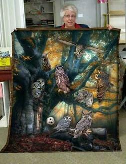 Owl Lover Owls On Branches Fleece Blanket 50x60; 60x80 Made