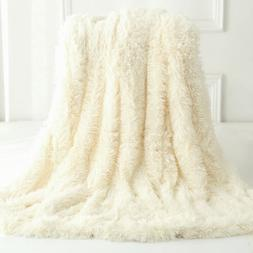 Reversible Faux Fur Blanket Soft Warm Fluffy Bed Sofa Throw