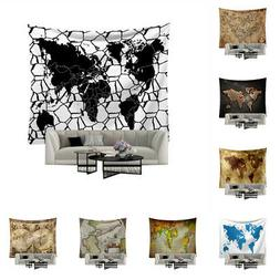 Vintage World Map Print Tapestry Wall Hanging Polyester Blan