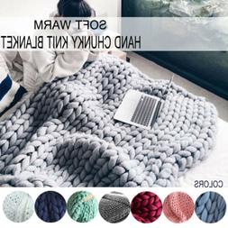Warm Handmade Chunky Knit Blanket Thick Line Yarn Knitted Th